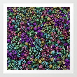Psychedelic weed Art Print