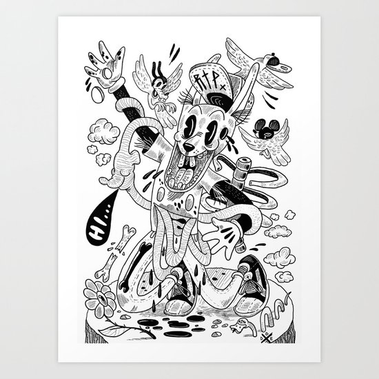 Awesome rabbit is awesome (b/w version) Art Print