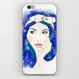 Blue Hair Don't Care iPhone Skin
