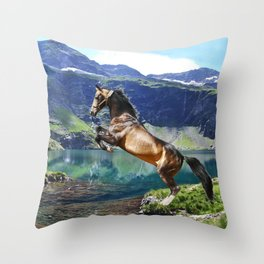 Horse and Lake Throw Pillow