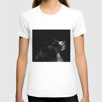 border collie T-shirts featuring Border Collie Portrait - Bamboo by Macarena Gonzalez Hopff -Mil Letterpress