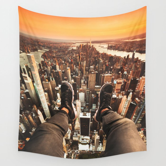 flying over manhattan Wall Tapestry