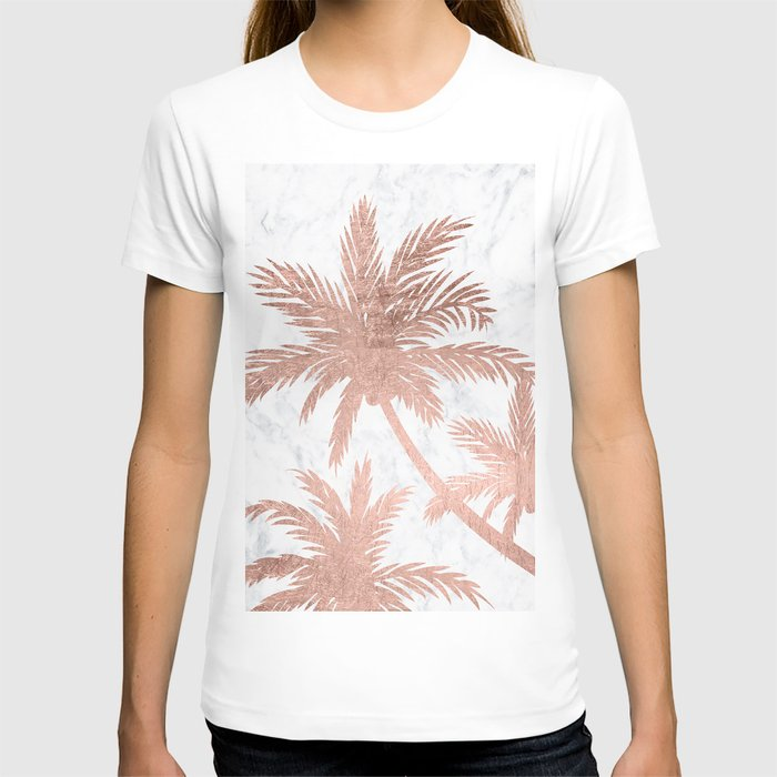 Tropical simple rose gold palm trees white marble T-shirt