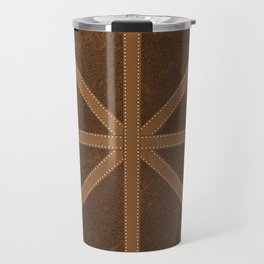 Digitial Faux Brown Leather and Union Jack Cross Design Travel Mug