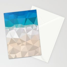 Low poly beach Stationery Cards