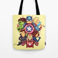 avenger Tote Bags featuring The Avenger by rendhy wahyu