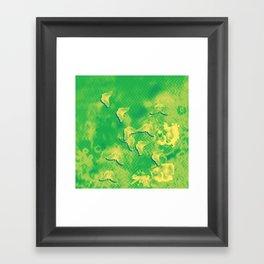 Yellow butterflies on textured green chevrons Framed Art Print