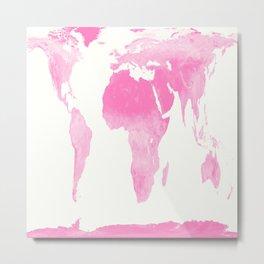 world map pink  Metal Print