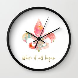where it all began- fleur de lis Wall Clock