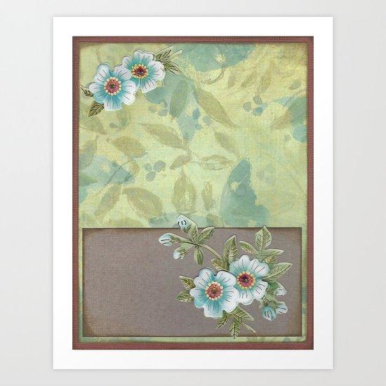 Brown paper flowers Art Print