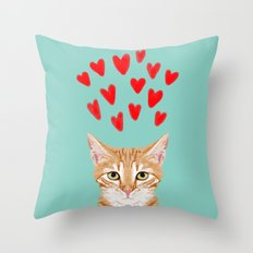 Mackenzie - Orange Tabby Cute Valentines Day Kitten Girly Retro Cat Art cell phone Throw Pillow