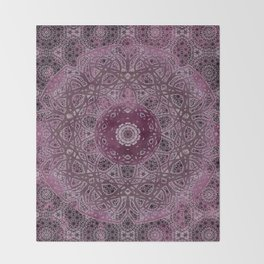 Vintage Merlot Lace Mandala Throw Blanket