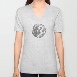 Traditional Gray and Black Chinese Phoenix Circle Unisex V-Neck