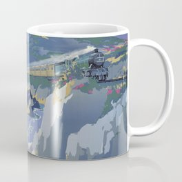Mid Century Modern Vintage Travel Poster Art British Railways Train Landscape Colorful Pop Art Coffee Mug