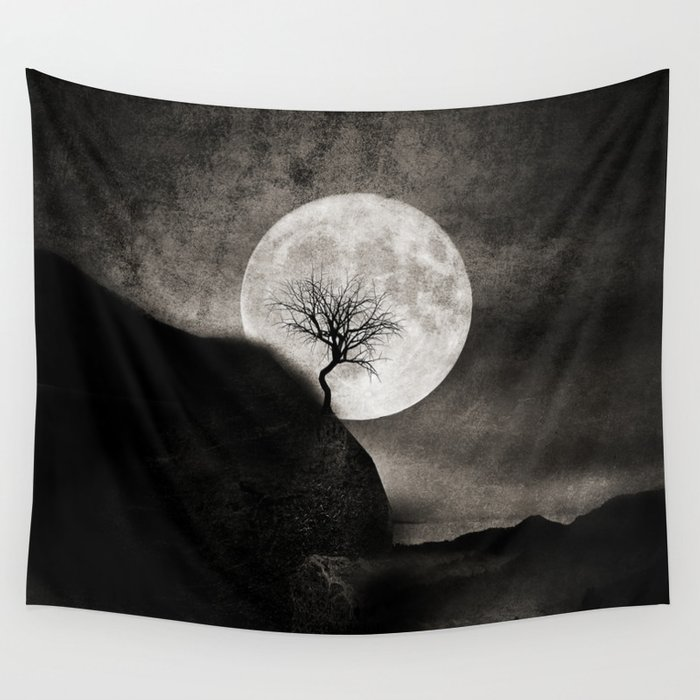 The Moon and the Tree.. Wall Tapestry