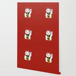Maneki Neko - lucky cat - red Wallpaper