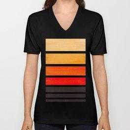 Orange Minimalist Watercolor Mid Century Staggered Stripes Rothko Color Block Geometric Art Unisex V-Neck