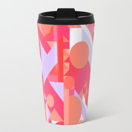 GEOMETRY SHAPES PATTERN PRINT (WARM RED LAVENDER COLOR SCHEME) Travel Mug