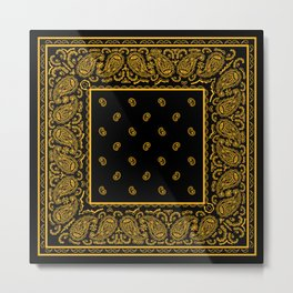 Classic Black and Gold Bandana Metal Print