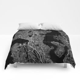 Seattle Black Map Comforters