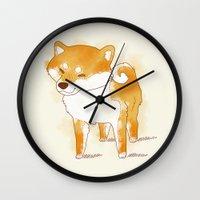 shiba Wall Clocks featuring shiba shiba by Elise Lesueur