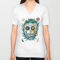 tequila V-neck T-shirts featuring Tequila by Jorge Garza