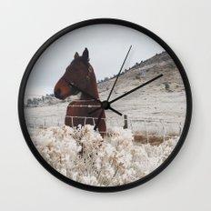 Snowy Horse Wall Clock