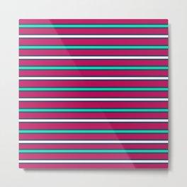 Raspberry stripes Metal Print