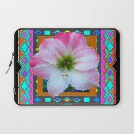 BLACK WESTERN PINK-WHITE AMARYLLIS TURQUOISE ART Laptop Sleeve