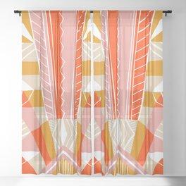 salida, woven rug pattern Sheer Curtain