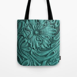 Teal Flower Tooled Leather Tote Bag