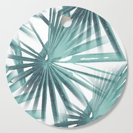 Teal Aqua Tropical Beach Palm Fan Vector Cutting Board