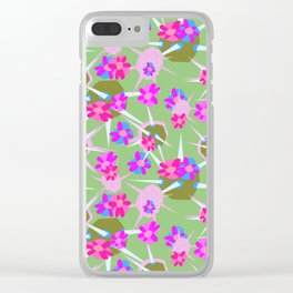 Cactus Floral Green and Pink Clear iPhone Case