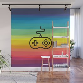 Gamer By Nature - rainbow joystick Wall Mural