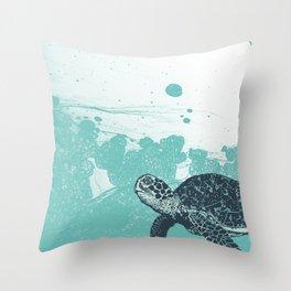 Sea Foam Sea Turtle Throw Pillow
