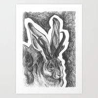 jackalope Art Prints featuring Jackalope by Hannah Scully