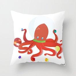 Space Octopus Throw Pillow