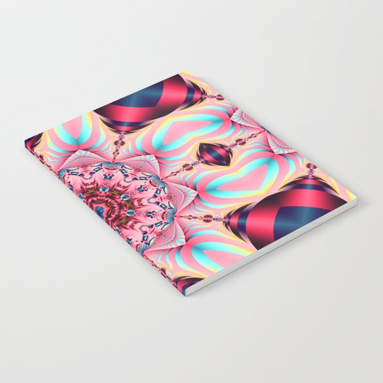 Blooming in Pink, floral kaleidoscope design Notebook
