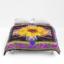 Southwestern Sunflower in Exotic Black-Purple Abstract Comforters
