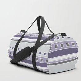 Squares and Stripes in Purple and Gray Duffle Bag