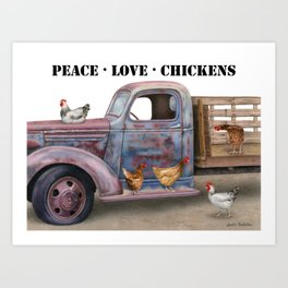 Peace Love Chickens Stencil Font Art Print