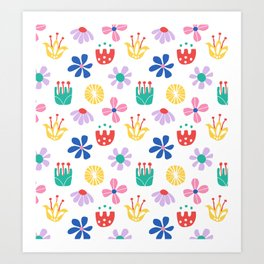 Nordic Floral in Mod Rainbow + White Art Print
