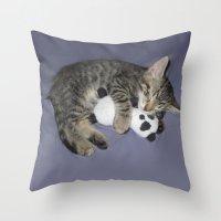 berserk Throw Pillows featuring Monroe Kitten by Berserk Cyborg Panda