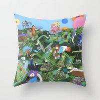 giants Throw Pillows featuring Sleeping Giants by Valeriya Volkova