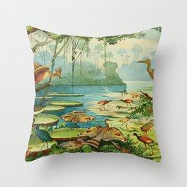 Amazonian birds by Göldi & Emil 1859-1917 Belem Brazil Colorful Tropical Birds Throw Pillow