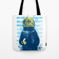 diver Tote Bags featuring Wild Diver by Steven Toang