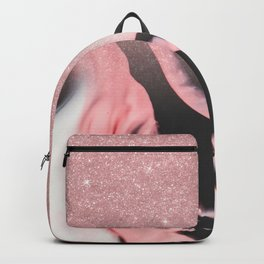 Pink Black White Glitter Painted Marble Ombre Backpack