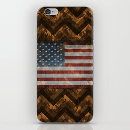 Copper Orange Digital Camo Chevrons with American Flag iPhone Skin