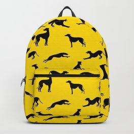 Greyhound Silhouettes Black on Yellow Backpack