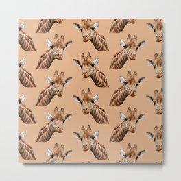 primitive African safari animal brown giraffe Metal Print